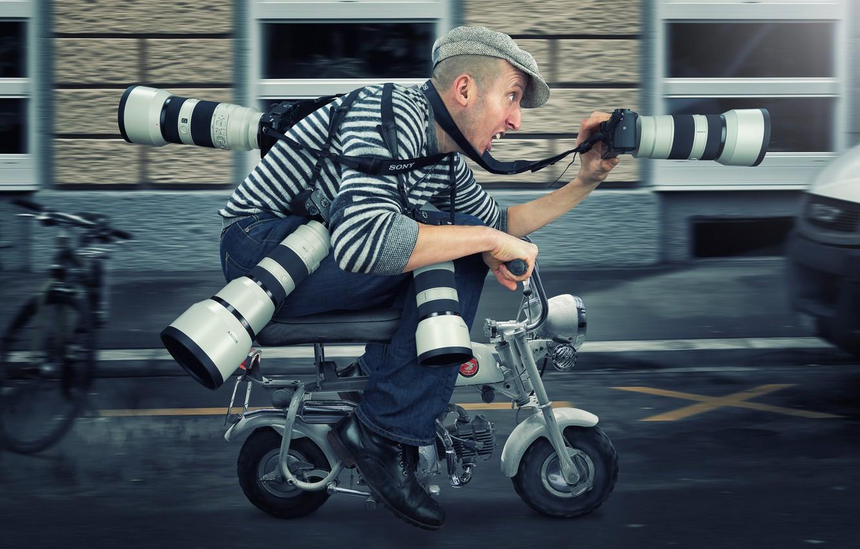 Photo wallpaper speed, man, humor, moped, photographer, paparazzi
