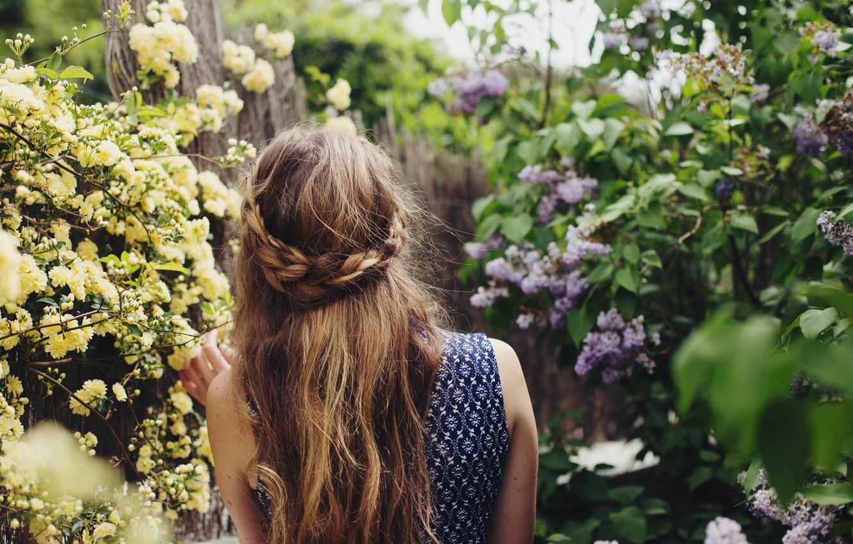 Photo wallpaper girl, hair, lilac