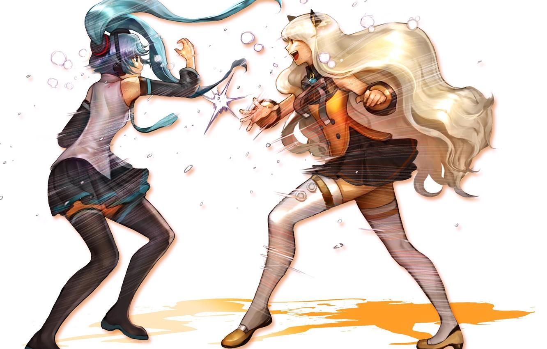 Photo wallpaper girls, fight, stockings, art, Hatsune Miku, bow, Vocaloid, Vocaloid, school uniform, ears, SeeU