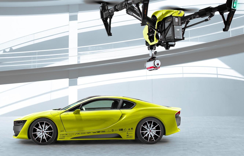 Photo wallpaper car, yellow, Concept Car, Drone, Etos, CES 2016, Etos Concept Car, DJI Inspire One, Electric …
