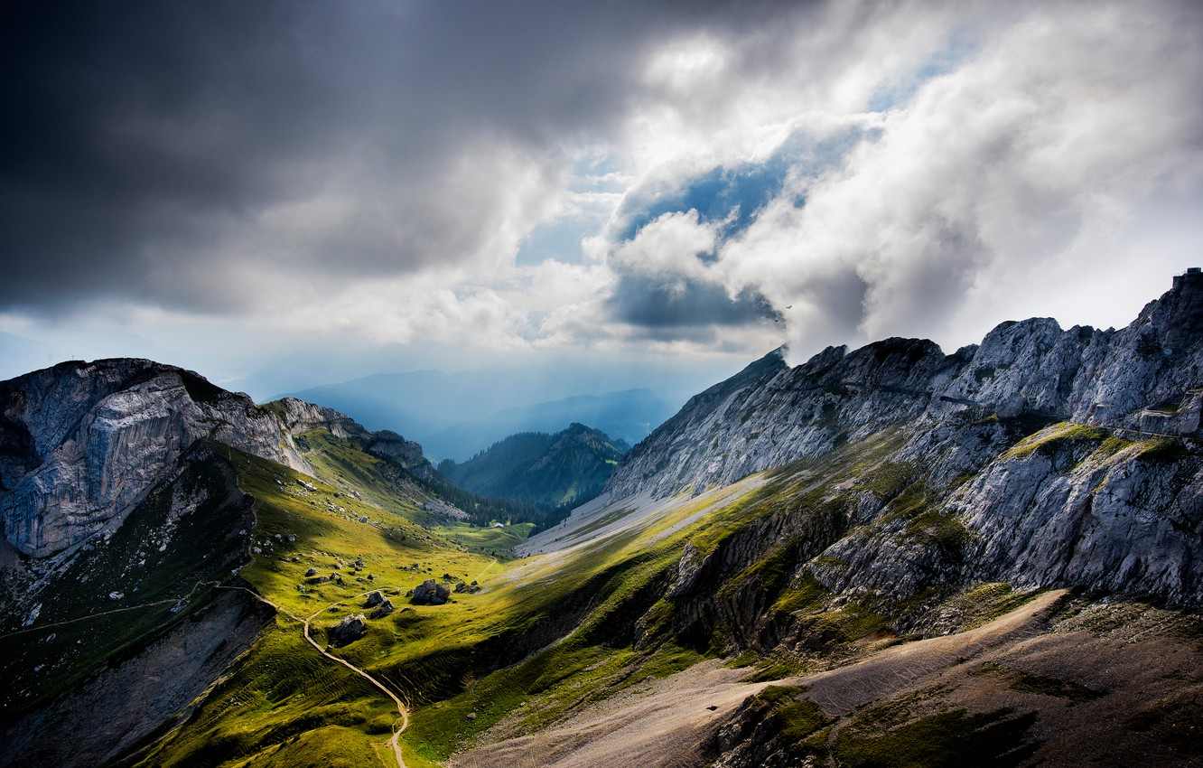 Photo wallpaper clouds, mountains, Switzerland, valley, Switzerland, Mount Pilatus