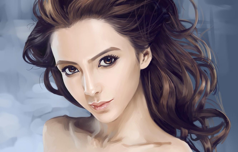 Photo wallpaper look, girl, face, hair, portrait, art, curls, Asian, Dtoxin