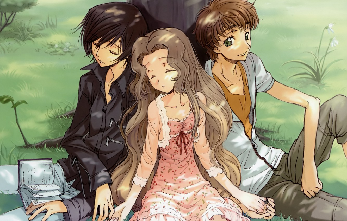 Photo wallpaper Code Geass, Lelouch Lamperouge, nunnally lamperouge, suzaku