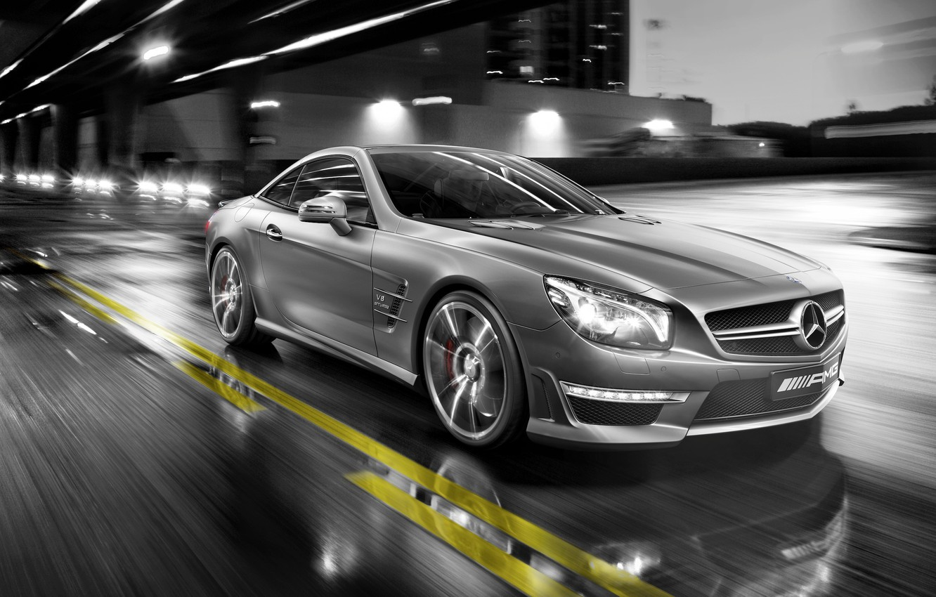 Photo wallpaper street, Mercedes, in motion, mercedes sl 55 amg