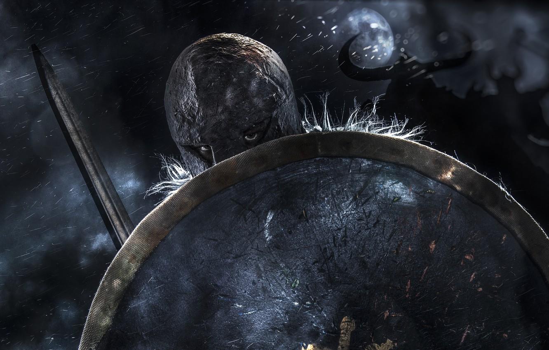 Photo wallpaper background, sword, warrior, helmet, shield