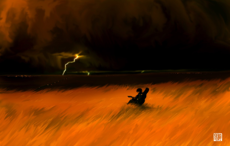 Photo wallpaper the storm, field, guitar
