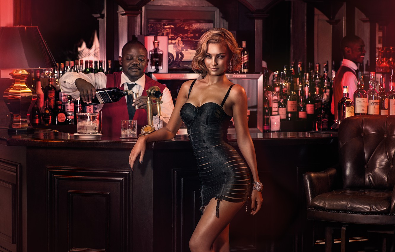 Photo wallpaper girl, sexy, background, model, bar, male, bottle, sexy, beauty, Veronika Klimovits, Miss Tuning 2015, Miss …