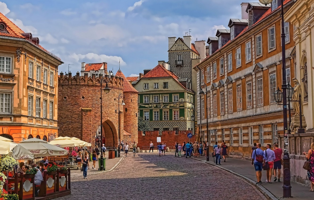 Photo wallpaper street, home, Poland, Warsaw, old town, Barbican