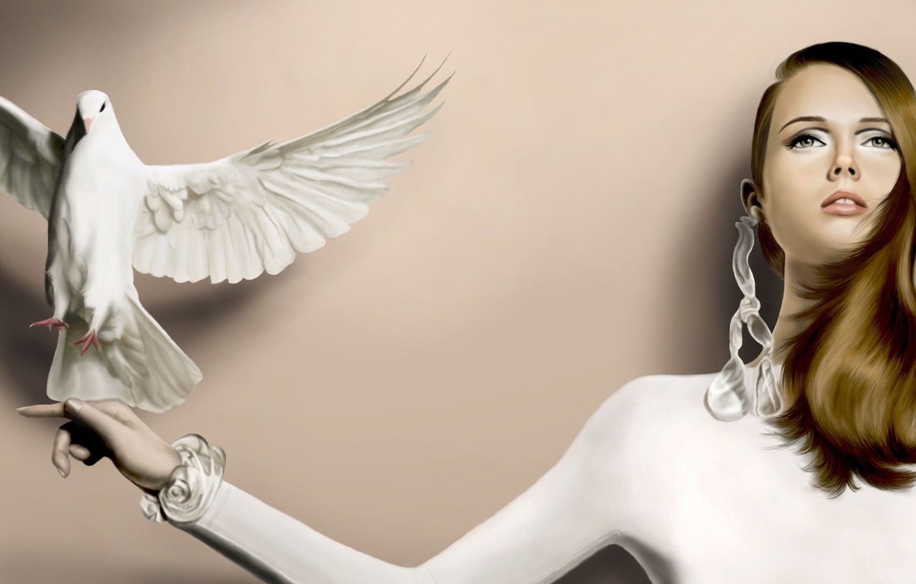 Photo wallpaper look, girl, face, hair, dove, hand, earrings, art