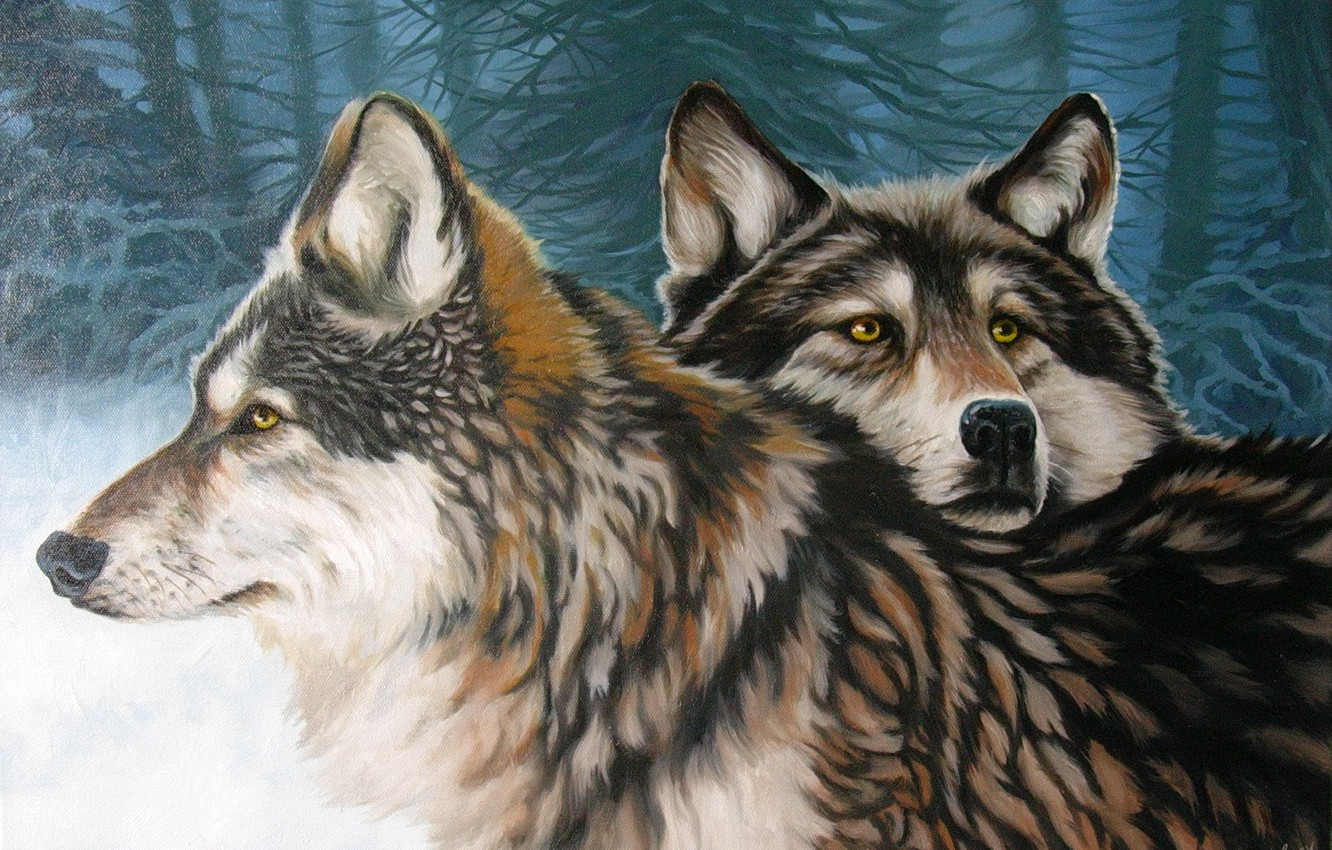 Photo wallpaper winter, forest, loyalty, pair, wolves, ART