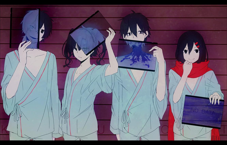 Photo wallpaper smile, girls, anime, art, guys, konoha, kagerou project, ayano tateyama, ene, kisaragi shintaro, kokonose haruka, …