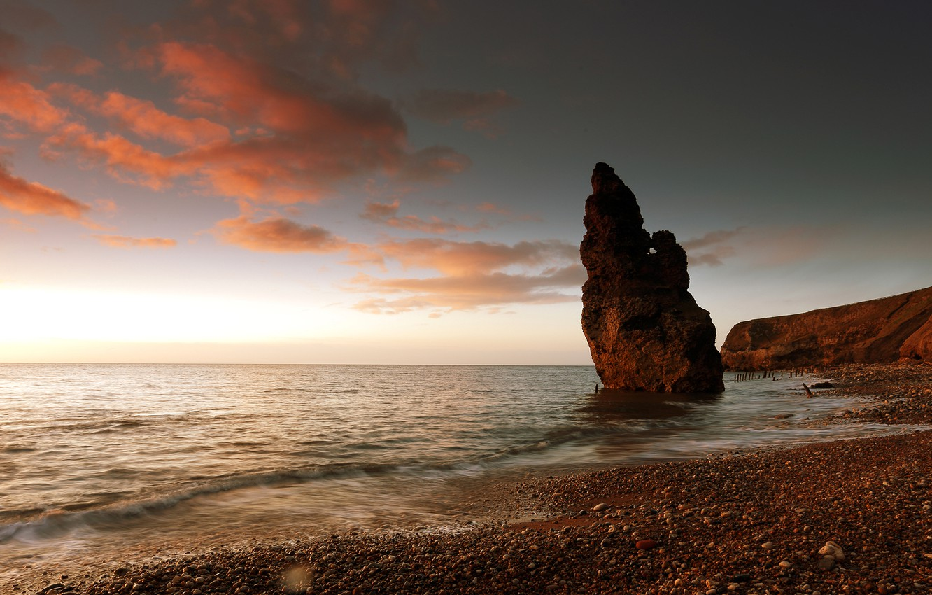 Photo wallpaper sea, the sky, clouds, sunset, rock