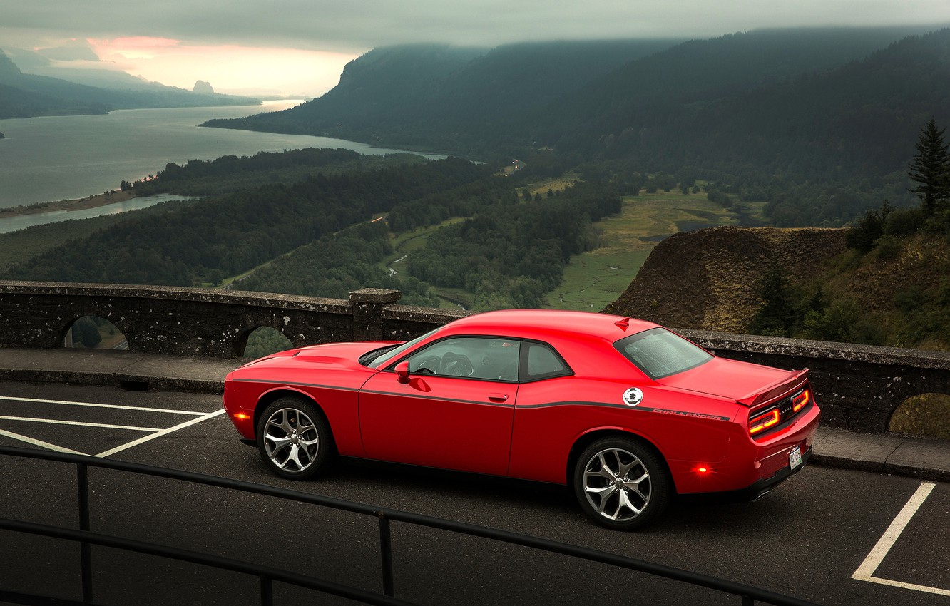 Photo wallpaper Sunset, Road, Mountains, River, Forest, Dodge, Challenger, Landscape, Valley, Muscle Car, 2015