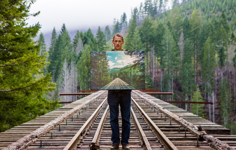 Photo wallpaper bridge, picture, guy, illusion, Isaac Gautschi, Look Closely
