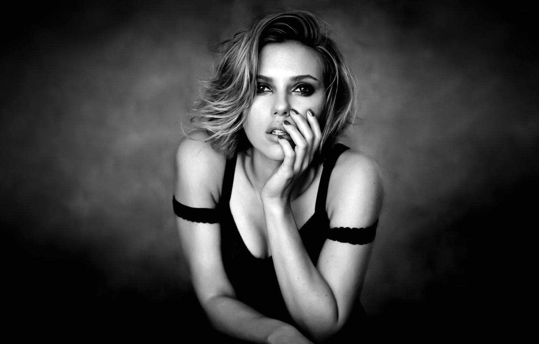 Photo wallpaper girl, black and white, model, actress, Scarlett Johansson, scarlett johansson