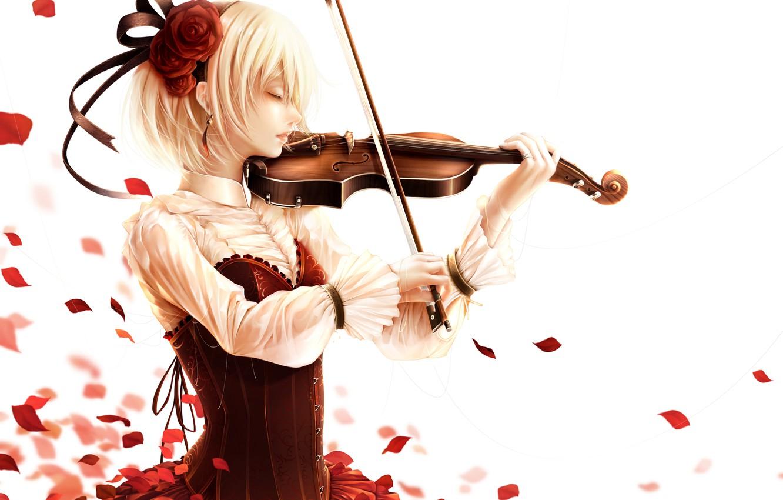 Wallpaper Girl Violin Rose Anime Petals Art Bouno Satoshi