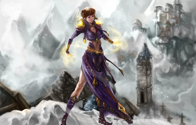 Photo wallpaper cold, winter, look, girl, snow, face, magic, hair, hands, dress, art, jakurin