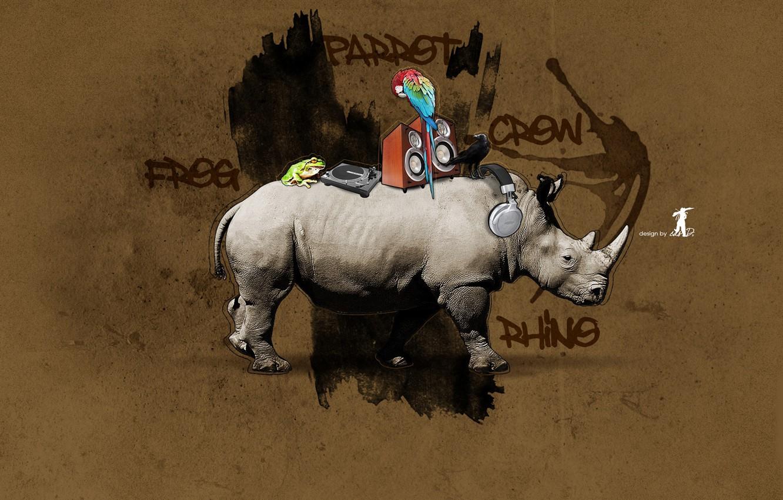 Photo wallpaper Graffiti, Rhino, design, crow, frog, parrot, rhino