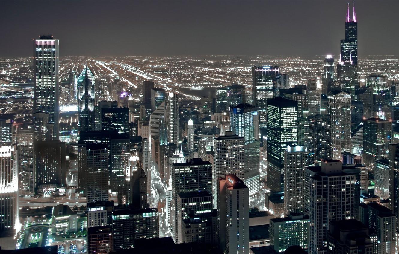 Photo wallpaper night, city, lights, height, skyscrapers, USA, America, Chicago, Chicago, USA