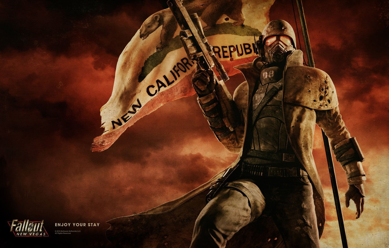 Photo wallpaper flag, soldiers, armor, Fallout, rifle, New Vegas, NCR