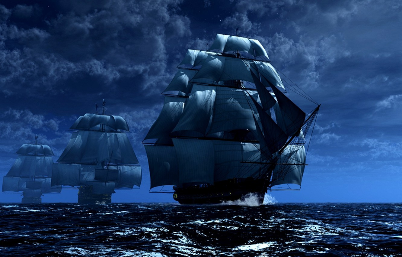 Photo wallpaper SHIPS, NAVY, STROY, MAST, SAILS, SEA.WAVE