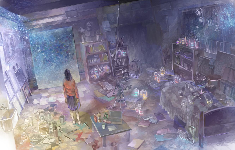 Photo wallpaper girl, flowers, toy, books, bed, crane, anime, scarf, art, bear, pictures, binoculars, phone, laptop, portfolio, …
