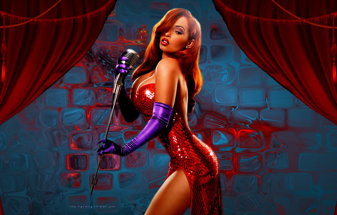 Photo wallpaper sexy, boobs, jessica, red dress, roger rabbit