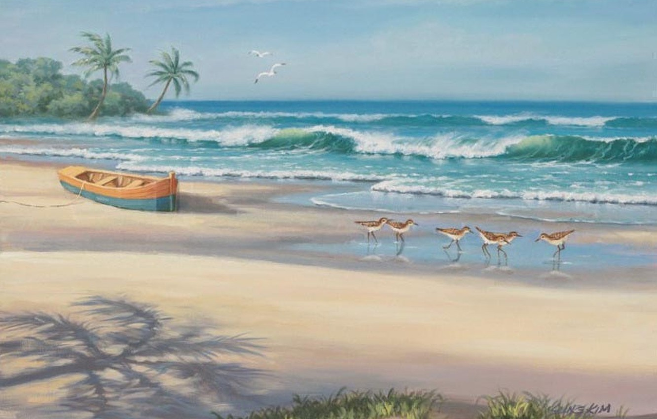 Photo wallpaper sea, beach, boat, picture, painting, painting, Sung Kim