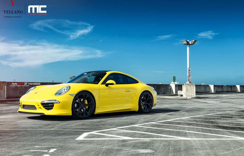 Photo wallpaper Porsche, yellow, 991 Carrera