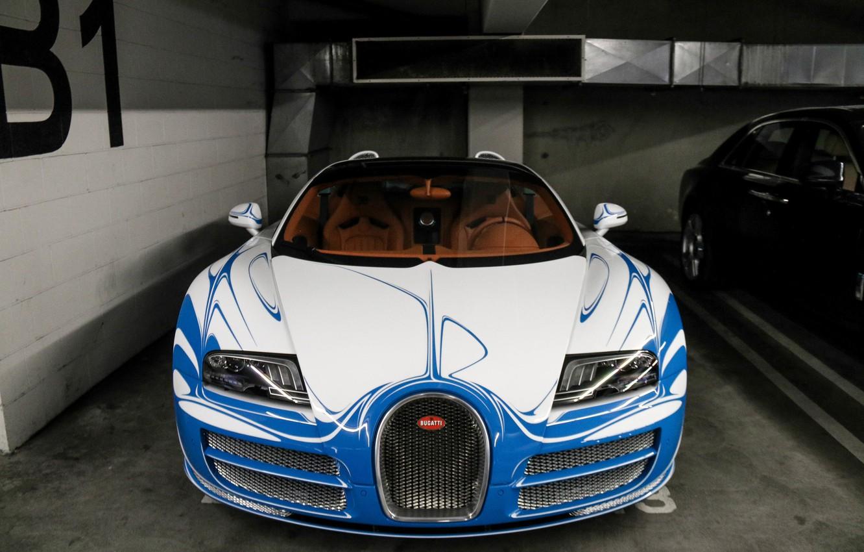 Photo wallpaper car, Bugatti, Veyron, Vitesse, vehicle, Blue, Gold