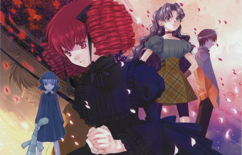 Photo wallpaper children, petals, girl, black dress, bow, art, ruffles, red hair, You Shiina, Tsu want to …