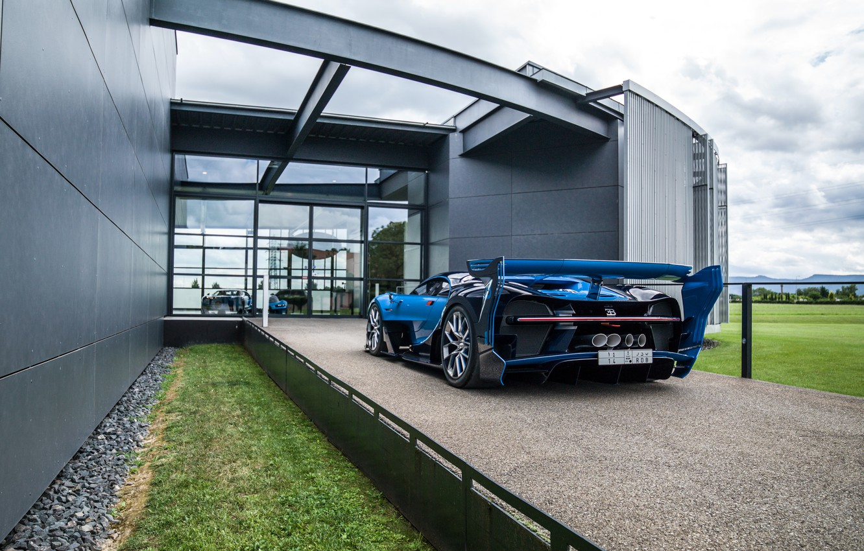 Photo wallpaper car, grass, Bugatti, Vision, car, crushed stone, back, hypercar, Gran Turismo, exhausts, gress