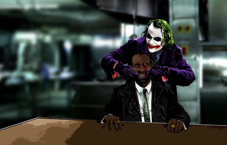 Photo wallpaper card, look, smile, style, labels, batman, Joker, the film, black, blood, dark, clown, art, monkey, ...