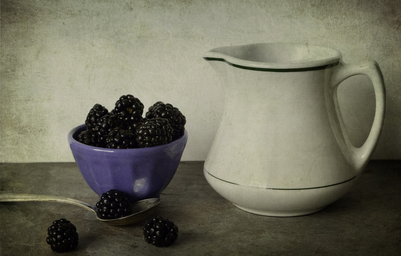 Photo wallpaper white, style, berries, table, BlackBerry, bowl, pitcher, lilac, spoon