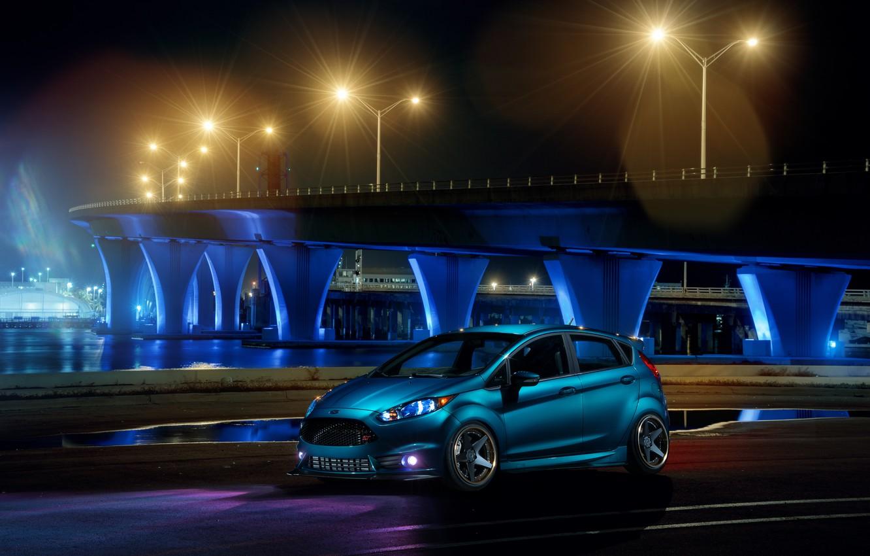 Photo wallpaper Ford, Blue, Front, Bridge, Night, Fiesta, Wheels, ADV.1, Warren