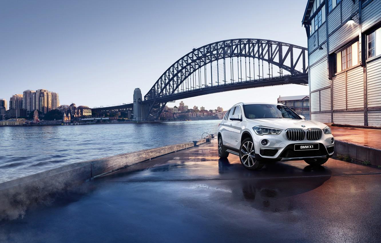 Photo wallpaper bridge, river, shore, BMW, BMW, promenade, crossover, F48