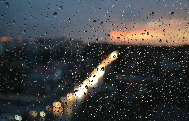 Photo wallpaper glass, squirt, the city, lights, rain, Drops, the evening