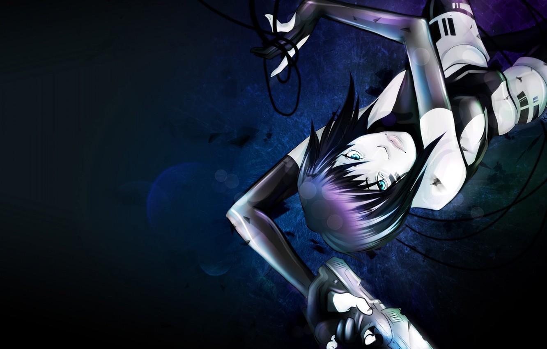 Wallpaper Look Girl Gun Weapons Wire Art Cyberpunk
