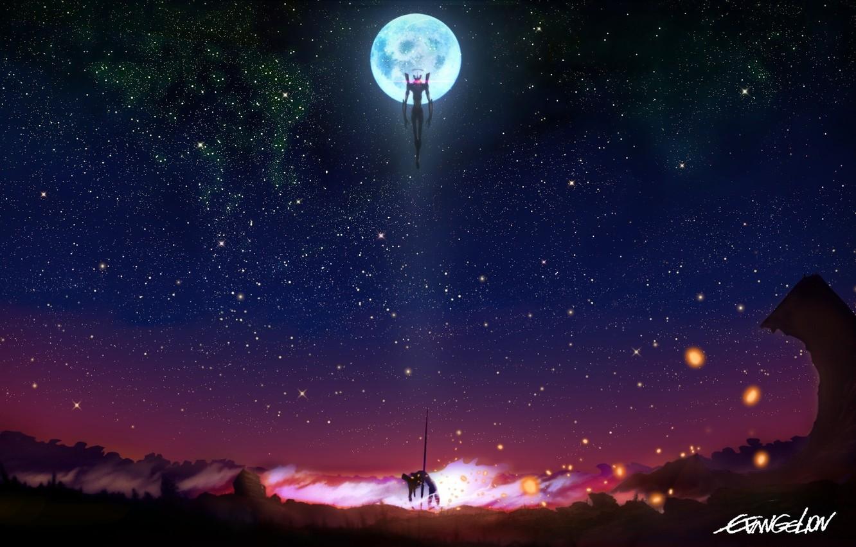 Photo wallpaper the sky, stars, night, weapons, the moon, anime, robots, art, neon genesis evangelion, fur, eva, …