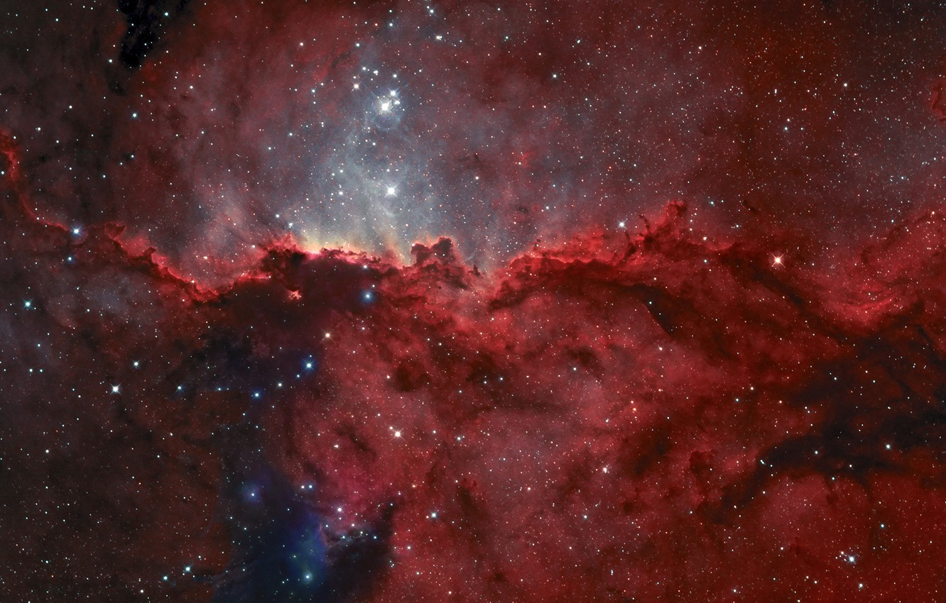 Photo wallpaper emission nebula, NGC 6188, in the constellation, The altar
