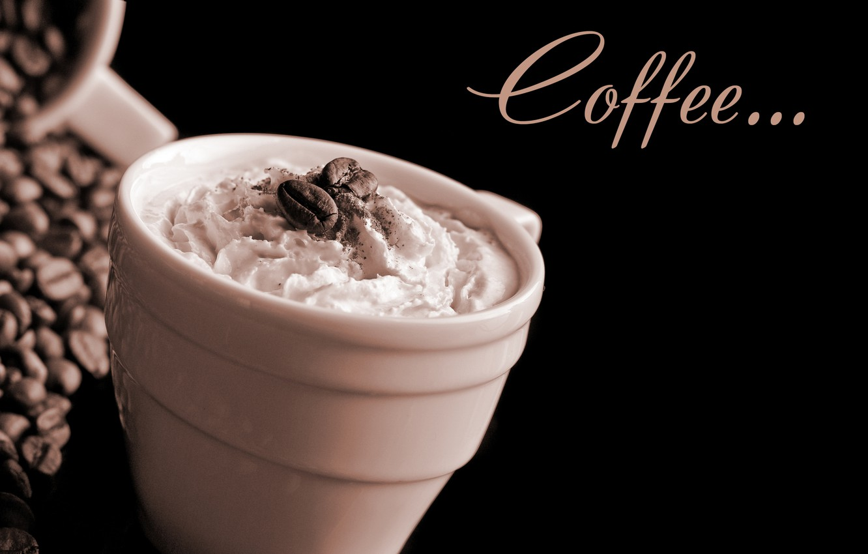 Photo wallpaper foam, coffee, Cup, cream, cup, grain, Coffee, coffee, cream, foam, coffee beans, beans