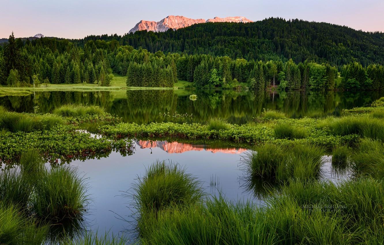 Photo wallpaper forest, summer, landscape, mountains, pond, Michael Breitung
