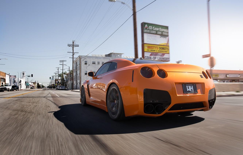 Photo wallpaper road, orange, speed, shadow, nissan, Nissan, gt-r, orange, GT-R, r35