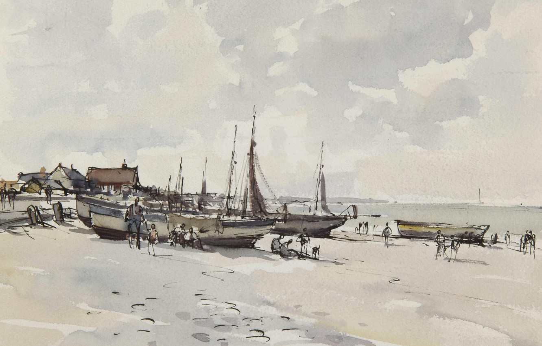 Photo wallpaper landscape, picture, watercolor, Edward Seago, Beach Scene. Kessingland. Suffolk