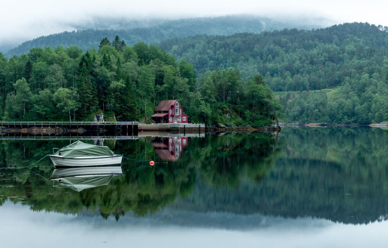 Photo wallpaper forest, trees, fog, lake, house, boat, Landscapes