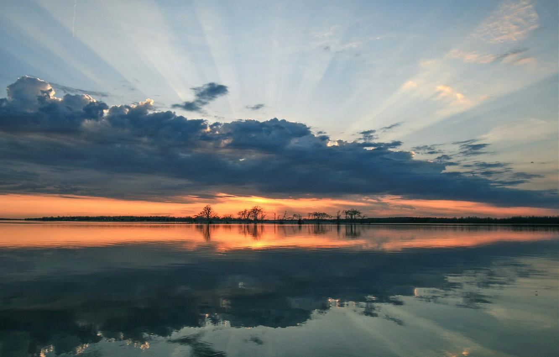 Photo wallpaper Clouds, Sunset, Lake, Trees