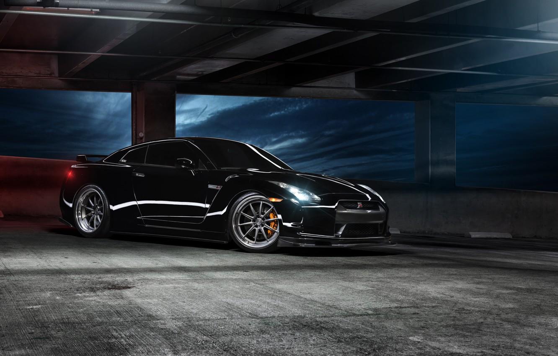 Photo wallpaper black, before, Parking, Nissan, GT-R, black, Nissan, front, R35
