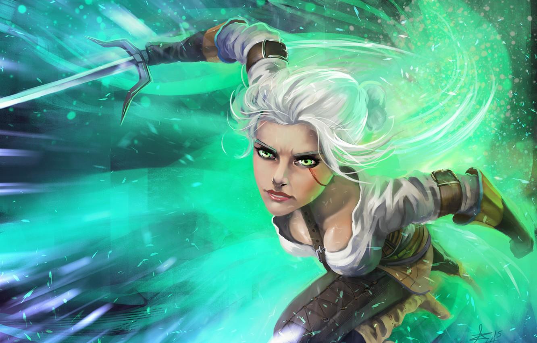Photo wallpaper look, weapons, art, attack, Ciri, Witcher 3: Wild Hunt, Cirilla