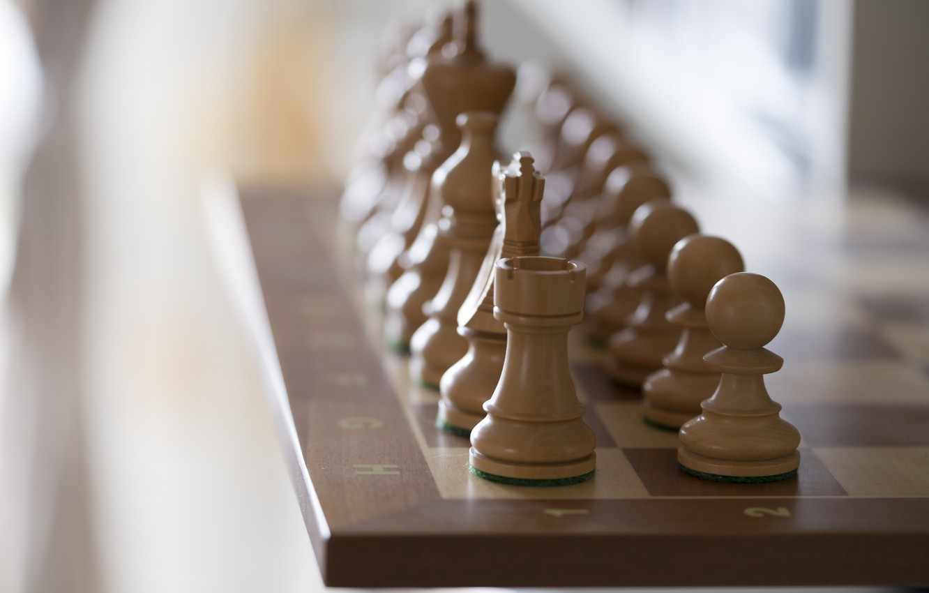 Photo wallpaper the game, chess, Board, figure