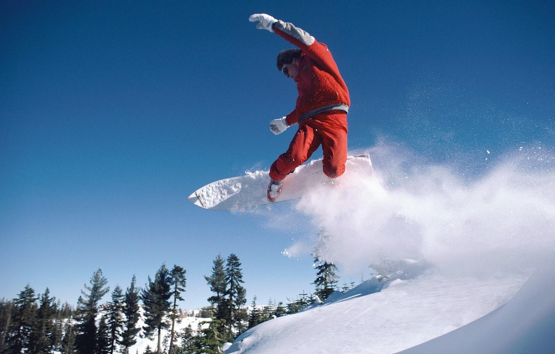 Photo wallpaper snow, snowboard, mountain, forest.